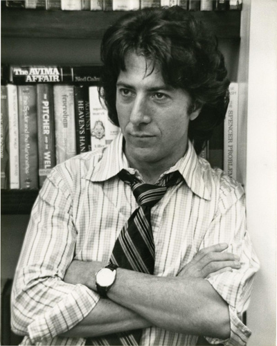 Black and white photograph of Dustin Hoffman on the set of the 1974 film All the President's Men.