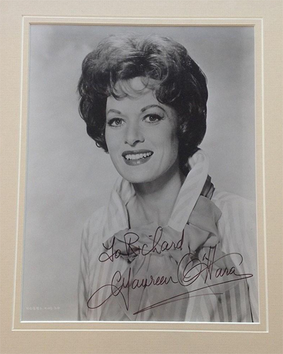 Framed photograph of Maureen O'Hara who recently passed away.