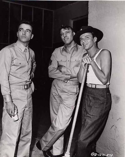 Original candid still of the three lead actors Montgomery Clift, Burt Lancaster & Frank Sinatra relaxing between takes on the set of From Here To Eternity.