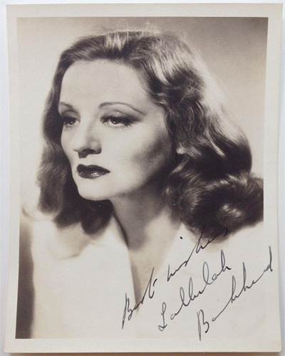 A 1935 head shot of Talullah Bankhead who was famous for her rolls in Devil and the Deep (1932), which starred Gary Cooper and newcomer Cary Grant, and Hitchcock's Lifeboat (1944).