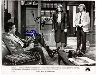 Autographed photo of Walter Matthau and Jill Clayburgh, from the 1981 film First Monday in October.
