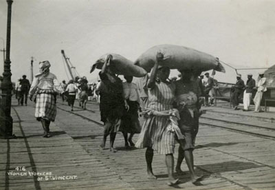 Workers haul good in St. Vincent, circa 1910.
