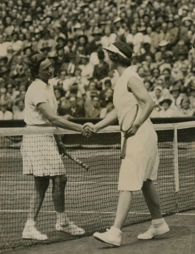 In 1938, Wills Moody defeats Helen Jacobs in woman's singles final.